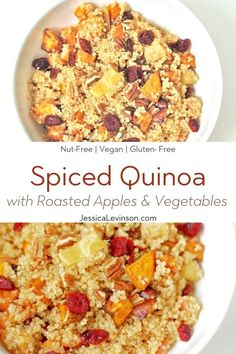 This nutritious and delicious spiced quinoa is packed with fall produce, is vegan and gluten-free, and can be made in less than 30 minutes! Get the recipe via @JessicaLevinson.com #FallSideDish #HealthyQuinoaRecipe