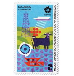 Cuba stamps commemorating the 1970 World Expo in Osaka, Japan / design by wes (?)