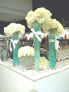 Tiffany and hydrangea centerpiece for sweet 16