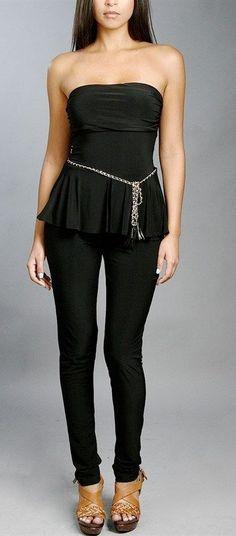 a6978cb7b84 BLACK PEPLUM STRAPLESS JUMPSUIT Black or Red Belted Sexy Skirt S M L Black  Peplum