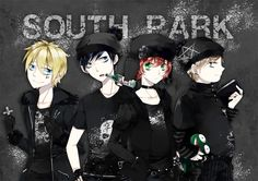 Goth Stan, Kyle, Kenny, and Cartman