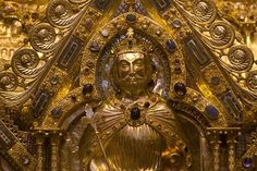 Portrait of Charlemagne on the golden Shrine of the Virgin Mary, completed in 1238. The shrine contains the Four Great Relics of Aachen: the cloak of the Blessed Virgin; the swaddling-clothes of the Infant Jesus; the loin-cloth worn by Christ on the Cross; and the cloth on which lay the head of St. John the Baptist after his beheading. These relics are shown to the public every 7 years (next time 2014).