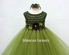 Olive Green Military Flower girl dress khaki tutu dress