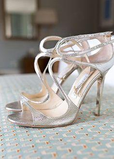 Silver Strappy Jimmy Choo Heels | Perez Photography | blog.theknot.com