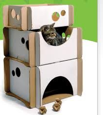 Image result for cat playhouse from cardboard boxes