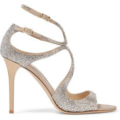 Jimmy Choo Memento Lang crystal-embellished metallic suede sandals (€1.655) ❤ liked on Polyvore featuring shoes, sandals, heels, sparkly sandals, ankle wrap sandals, ankle strap shoes, high heel shoes and criss-cross sandals