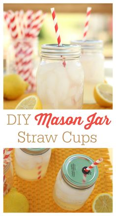 DIY mason jar cups with straw-- these are super easy to make and cost way less than the store-bought versions. Perfect for parties and BBQs. I'm using those cute paper straws in mine.