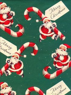 Vintage Gift Wrap. Santa with Candy Canes.