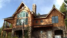 Log Home Photos | Log Home Exteriors > Western Red Cedar > Log Siding > Modulog Industries