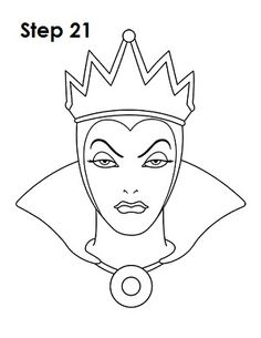 Learn how to draw the evil queen grimhilde from walt disney's snow white with this step-by-step tutorial and video. a new cartoon drawing tutorial is Disney Drawings Sketches, Cartoon Drawings, Easy Drawings, Drawing Sketches, Drawing Disney, Drawing Step, Witch Coloring Pages, Disney Coloring Pages, Disney Kunst