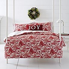 image of Happy Christmas Winter Elk Quilt Set in Red