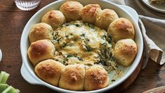 Our Baked Cheesy Spinach Dip with Pull-Apart Bread recipe makes for the perfect appetizer to serve at your next game day party. The ooey-gooey cheesy spinach dip paired with fresh bread is the perfect combination to put a smile on your face. Creamed Spinach, Spinach And Cheese, Spinach Dip, Bacon Stuffed Mushrooms, Stuffed Peppers, Wine Recipes, Bread Recipes, Bite Size Appetizers, Pull Apart Bread
