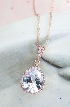 Rose Gold Luxe Cubic Zirconia Teardrop Necklace - Luxe