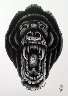Aaron Ashworth Baboon Tattoo Art Print by WAInkTattoo on Etsy, $30.00