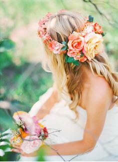 blonde, flower, summer, girly, bride, dress, hairstyle, crown, hair, roses