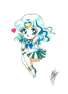 Chibi Sailor Neptune   art by Marco Albiero; from the Sailor Moon Thailand Fanclub Facebook Page