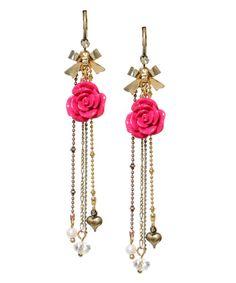 Want. Betsey Johnson. Pink Rose Drop Earrings. $38