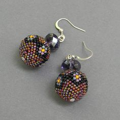 Seed bead  earrings  beaded beads by Anabel27shop on Etsy,