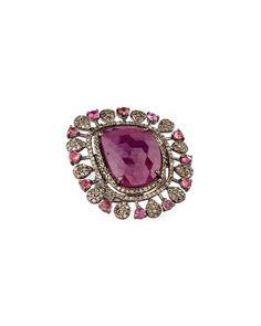 Bavna Diamond, Tourmaline & Glass Ruby Ring, Size 7