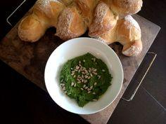 Homemade bread and Pistachio Rosemary Pesto spread.