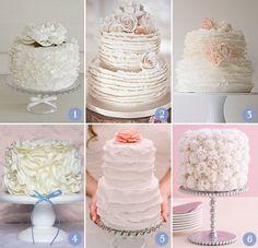 cake love 1  1. peônia - The King Cake   2. Babados na extremidade das camadas   3. Babados super fininhos: Maggie Austin Cake   4. Badados que foram flores irregulares    5. Babados mais alisados   6. Babados que formam cravos: The Knot