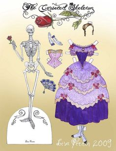 corsetted skeleton paper doll by LisaPerrinArt, via Flickr