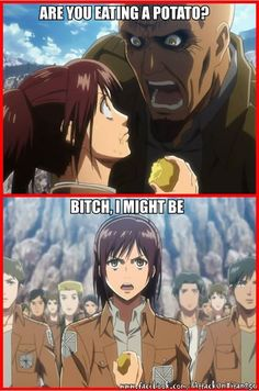 """Attack on Titan; the girl's first scene and she was already my favorite character. known as """"potato girl"""" from there forward.This anime disturbs me but this scene cracks me up XD Armin, Levi X Eren, Mikasa, Anime Meme, Manga Anime, Attack On Titan Funny, Attack On Titan Anime, Attack On Titan Crossover, Watch Attack On Titan"""