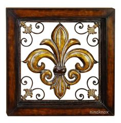 Warmly toned in a brass and brown finish, the DecMode Metal Framed Fleur de Lis Wall Sculpture brings classic style to your home. This fleur-de-lis. Metal Wall Art Decor, Frame Wall Decor, Frames On Wall, Framed Wall Art, Wall Décor, Wall Sculptures, Sculpture Art, Mediterranean Home Decor, Tuscan Decorating