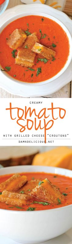 """Tomato Soup with Grilled Cheese """"Croutons"""" - The perfect kind of comfort food together in one cozy bowl of soup!Creamy Tomato Soup with Grilled Cheese """"Croutons"""" - The perfect kind of comfort food together in one cozy bowl of soup! Soup Recipes, Vegetarian Recipes, Cooking Recipes, Skillet Recipes, Cooking Gadgets, Cooking Tools, Bowl Of Soup, Soup And Salad, Soup And Sandwich"""