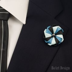 Lapel Pin/Steel Blue/Light Blue/Black Kanzashi Flower Lapel Pin/Hematite Pearl/Lapel Flower/Mens Lapel Flower/Wedding Accessories by BoArtDesign on Etsy