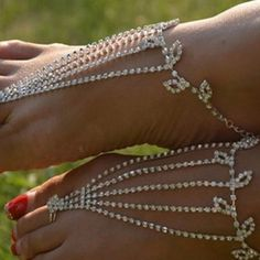 Buy Barefoot anklets Sandals Foot Jewelry Beach Dancing Wedding Ankle Bracelet Chain at Wish - Shopping Made Fun Bridal Sandals, Bridal Shoes, Beach Foot Jewelry, Feet Jewelry, Ankle Jewelry, Hand Jewelry, Jewelry Box, Jewelery, Jewelry Accessories