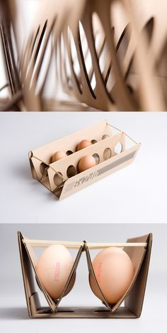 Packaging for eggs for the purpose of design and comfort for the product. The package shows the eggs neatly in a simplistic manner.