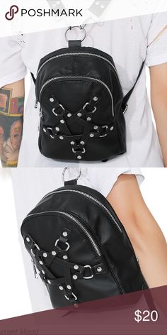 Current Mood W my Witches Pentagram Mini backpack With my witches pentagram backpack by Dolls Kill / Current Mood. Mini backpack. Straps can snap on and off. Two zipper pouches. Worn once. Sold out. No trades. Tags : goth , gothic , pentagram , gothic backpack , pastel goth , unif , disturbia , Kill Star dolls kill Bags Backpacks