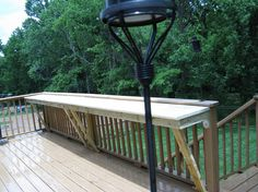 outdoor kitchen counter with soffit above with lights on a composite wood deck Outside Living, Outdoor Living, Deck Bar, Deck With Bar, Porch Bar, Rustic Kitchen Tables, Rustic Kitchens, Deck Railings, Railing Ideas