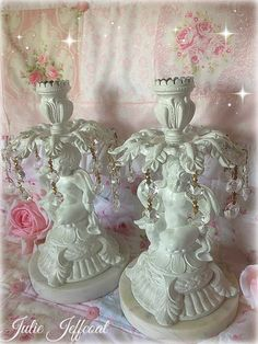 Pair French Shabby Vintage Heavy Romantic by ForeverPinkChic Shabby Vintage, Shabby Chic, Hanging Crystals, Rustic Chic, Love Is All, Snow Globes, Candle Holders, Romantic, Cherubs