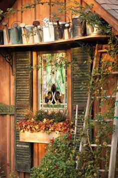 Garden shed inspiration.Old stained glass window and shutters in the garden shed Garden Deco, Garden Art, Home And Garden, Garden Sheds, Garden Shed Door Ideas, Herb Garden, Outdoor Spaces, Outdoor Living, Outdoor Decor