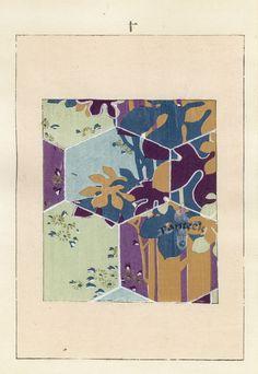 Meiji Woodblock Design Prints c1890. These lovely woodblock prints from the Meiji Era depict designs found on kimonos.