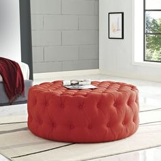 Amour Fabric Ottoman, Atomic Red - Inspire your decor with the Amour Round Ottoman. Fashionably chic with a refreshing look, Amour features a luxuriously tufted button round design with dense foam padding, fine fabric upholstery, and non-marking black plastic legs. Rest your feet, display some favorite magazines, and accent your bedroom, living room, lounge or meeting area decor with this stylish well-designed addition to your modern home or office. Set Includes: One - Amour Ottoman…