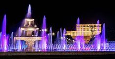 Fountains Of Bucharest And The Place Of Parliament At Night - Romania Print by Barry O Carroll