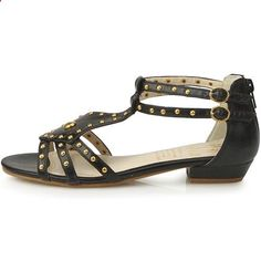 New Womens Low Heels Fashion Summer Ankle Strap Sandle Shoes Black (5.5). Check website for more description.