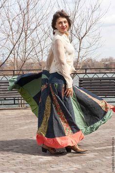 """Купить Шикарная юбка """"Woodstock-17"""" - разноцветный, однотонный, светлана гаридова, элегантность, элегия"""