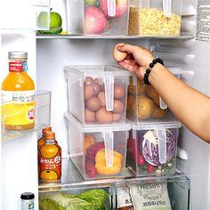 Transparent Refrigerator Storage Boxes Home Organizer Container Freezer Organization, Container Organization, Kitchen Organization, Organization Hacks, Kitchen Storage, Kitchen Cupboard, Fruit Storage, Vegetable Storage, Storage Boxes With Lids