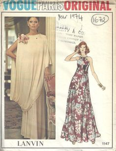 1974 Vintage Vogue  Sewing Pattern B36 EVENING DRESS & TOGA