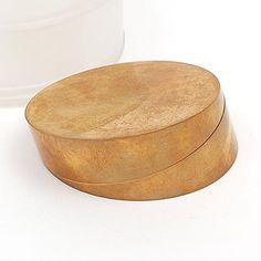Brass object design for trophy Françoise van den Bosch Price 1983-1987 made of two turnable discs design Frans van Nieuwenborg Martijn Wegman 1982 own production in original plastic box