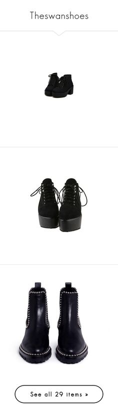 """""""Theswanshoes"""" by imeso ❤ liked on Polyvore featuring shoes, boots, ankle booties, clothes - shoes, shoes - boots, cat booties, cat boots, black, footwear and black ankle booties"""