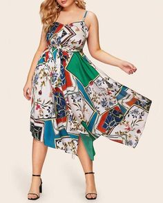 Print Irregular Midi Dress – casual dress plus size,plus size dress,plus size casual outfits,dress for plus size women,casual summer dress plus size,plus size spring dress casual #casualdressplussize #dressplussize #casualdressplussizefall outfits  #casualdressplussizeideas #casualdressformoms #casualdressforsummer #casualdressforfall #casualdressforwinter #casualdress Plus Size Spring Dresses, Casual Dresses Plus Size, Spring Dresses Casual, Plus Size Casual, Large Size Dresses, Dress Casual, Dresses Online, Dresses For Sale, Dress Outfits