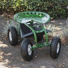 ARKSEN Rolling Garden Cart Backyard Adjustable Seat Swivel Basket w Steering Handle Green ** Visit the image link more details.