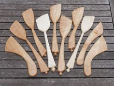 Jane Mickleborough - hand carved birch and sycamore spatulas/spreaders