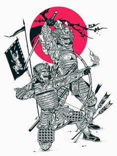 Something I& been working for some time. Eager to bring this illustration to the fine art of screen printing. Samurai Warrior Tattoo, Warrior Tattoos, Demon Tattoo, Samurai Drawing, Samurai Artwork, Kabuto Samurai, Samourai Tattoo, Transférer Des Photos, Japanese Warrior