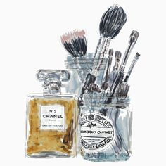 Perfume and Makeup Brushes